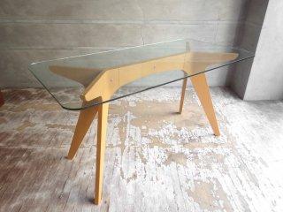 イーアンドワイ E&Y ペガサス PEGASUS ガラス ダイニングテーブル ホワイト アレックス・マクドナルド Alex Macdonald 幅140cm Sサイズ 定価:\121,000-♪