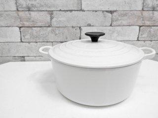 ルクルーゼ LE CREUSET ココットロンド キャセロール 両手鍋 Φ24cm ホワイト ●