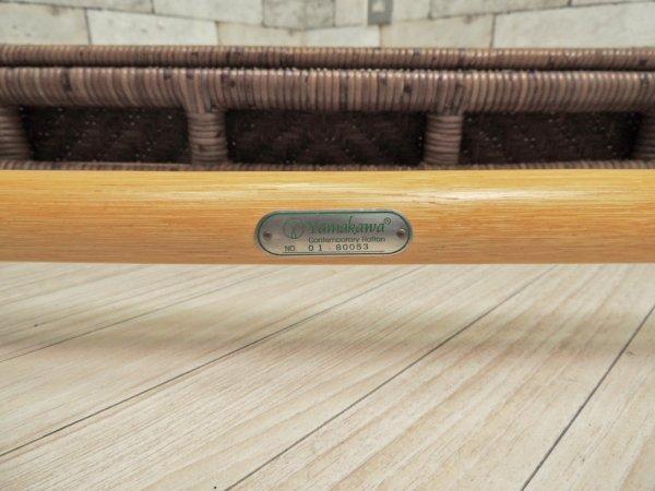 山川ラタン Y.M.K クラシックス CL-260 リビングテーブル 籐製 ガラスローテーブル キャンディブラウン 定価110,000円 ●