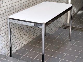 USMモジュラーファニチャー USM Haller USMハラーテーブル ワーキングデスク カンファレンステーブル W125 アジャスター 高さ調整機能付き ホワイト モダンデザイン C ■