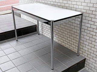 USMモジュラーファニチャー USM Haller USMハラーテーブル ワーキングデスク カンファレンステーブル W125 アジャスター 高さ調整機能付き ホワイト モダンデザイン D ■