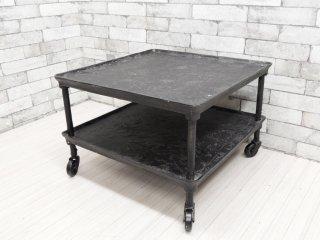 インダストリアルスタイル Industrial Style アイアンローテーブル センターテーブル トレー天板 キャスター付 ●