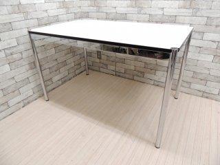 USMモジュラーファニチャー USMハラー USM Haller ワーキングテーブル カンファレンステーブル ダイニングテーブル デスク W125×D75cm ホワイトラミネート 高さ調整 A ●