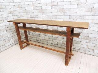 ジャパンビンテージ 木味 無垢材 長机 デスク コンソールテーブル レトロ W167 ●