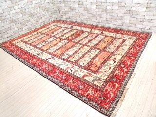 ASRAN アフガニスタン製 シルク キリム 絨毯 ラグ 280×191cm バード柄 レッド ●