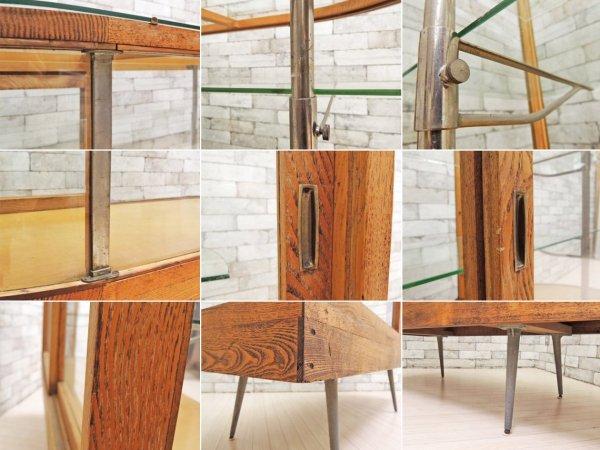 ビンテージ レトロ 古い木製ガラスショーケース 木味 鉄脚付 飾り棚 ●