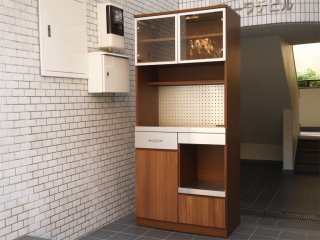 ウニコ unico ストラーダ STRADA キッチンボード レンジボード 食器棚 アッシュ材 W80cm オープンタイプ 廃番 ■