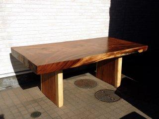 オーダーメイド モンキーポッド 無垢材 天板 一枚板 ダイニングテーブル ワーキングテーブル ●