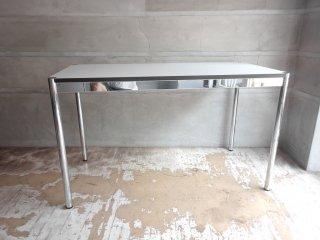 USMモジュラーファニチャー USM Haller USMハラーテーブル ワーキングデスク ダイニングテーブル W125 アジャスター 高さ調整機能付き ホワイト モダンデザイン A ♪