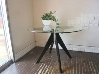 イーアンドワイ E&Y ペガサス PEGASUS ダイニングテーブル ラウンドテーブル ALEX MACDONALD ガラストップ プライウッド ブラック 定価143,000円 ◎