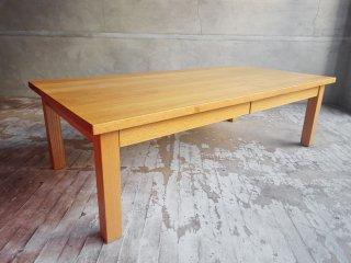 無印良品 MUJI センターテーブル ローテーブル 引き出し付 タモ無垢材 ナチュラル 廃番 W120 ♪