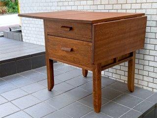 ジャパンビンテージ Japan Vintage 木味 バタフライテーブル 作業台 抽斗2杯 伸長式 昭和レトロ ■