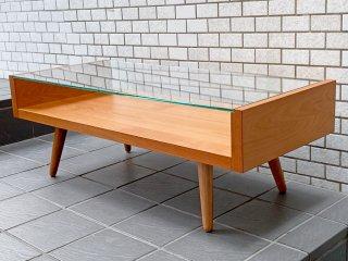 ウニコ unico エッコ ECCO チェリー材 ガラス ローテーブル センターテーブル 北欧スタイル ■