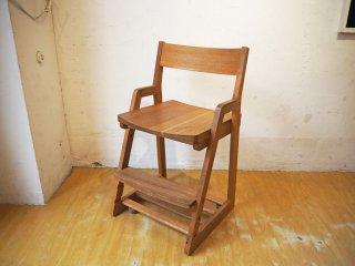 飛騨産業 キツツキ HIDA オーク無垢材 学習椅子 デスクチェア 板座 キャスター付 森のことば キッズチェア 高さ調整可 ★