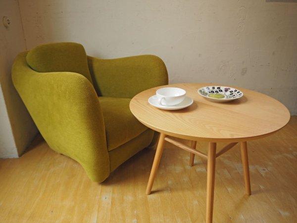 イデー IDEE アーオ テーブル AO TABLE ナチュラル アッシュ材 円形 ローテーブル 定価¥46,200- 岡嶌要 ★
