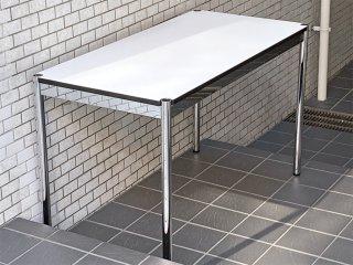 USMモジュラーファニチャー USM Haller ハラーテーブル ワーキングデスク カンファレンステーブル W125 アジャスター 高さ調整機能付き ホワイト モダンデザイン B ■