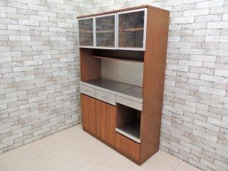 ウニコ unico ストラーダ STRADA キッチンボード アッシュ材 レンジボード 食器棚 オープンタイプ W125cm 廃番 ●