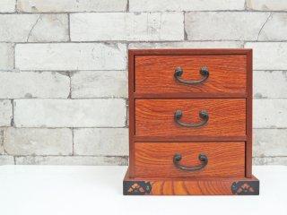 ジャパンビンテージスタイル Japan Vintage Style ナラ材の小引き出し 抽斗3杯 木味 古家具 レトロ ●