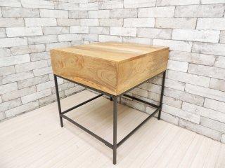 ウエストエルム West Elm インダストリアルストレイジ Industrial Storage サイドテーブル Side Table 抽斗付き US 定価: 約3.1万円 ●