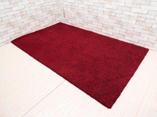 オリエンタルカーペット Oriental Carpet Mills シャギーラグ ワインレッド 145×245cm 羊毛100% 山形緞通 ●
