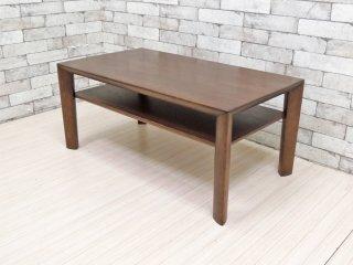 カリモク karimoku リビングテーブル TU3280 モカブラウン オーク材 ローテーブル 棚付き 定価89,100円 ●