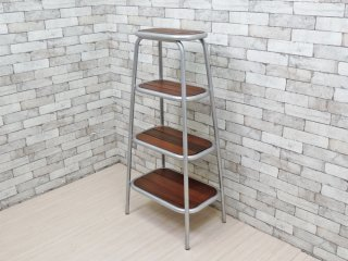 インダストリアルデザイン アルミフレーム 無垢材天板 4段 オープンシェルフ ●