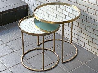 ザラホーム ZARA HOME ミラーゴールド ネストテーブル ヨーロピアンクラシカル 英国アンティークスタイル ■