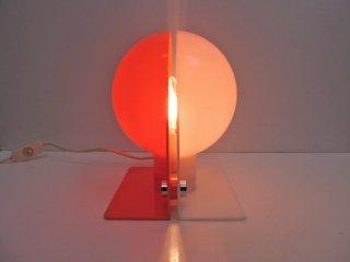 グッチーニ guzzini Sirio テーブルランプ 70'sビンテージ ホワイト x オレンジ スペースエイジ ミッドセンチュリー ●