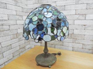 クラシカルスタイル ティファニーランプ テーブルランプ ブロンズ製 3灯 ステンドグラス アンティーク調 アールヌーヴォー ●