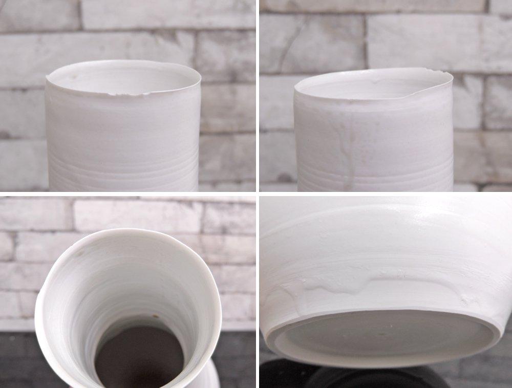 黒田泰蔵 TAIZO KURODA 白磁 花器 花瓶 H34cm 希少 現代作家 高さ34cm ●