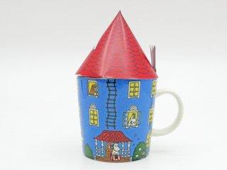 アラビア ARABIA ムーミン マグカップ 生誕70周年記念 ムーミンハウス 赤い三角屋根&箱付き ●
