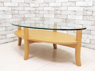 フランフラン Francfranc オーガ リビングコーヒーテーブル アッシュ材 ガラス天板 オーバル ●