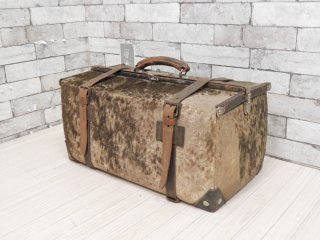 ビンテージ Vintage 毛皮 ハラコ トランク ドクターバッグ 店舗什器 撮影用 ●