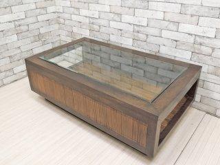 アジアン家具 無垢材xバンブー ガラス天板 ローテーブル センターテーブル W120cm バリ家具 ●