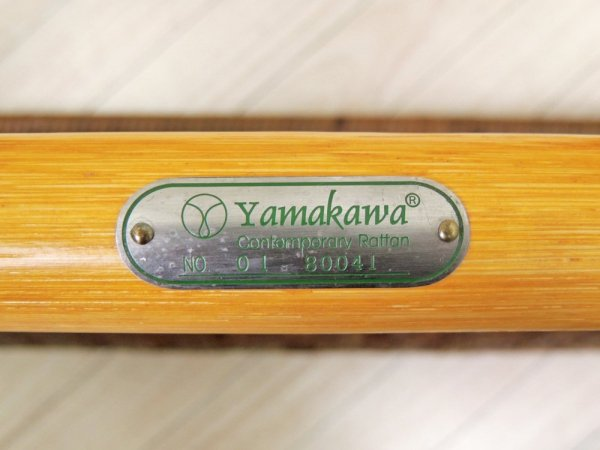 山川ラタン Y.M.K クラシックス TC-260 コーナーテーブル 籐製 ガラスサイドテーブル キャンディブラウン 定価70,000円 展示美品 ●