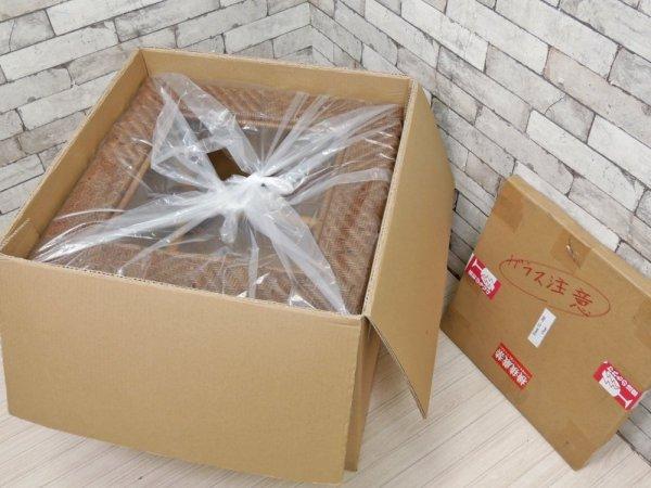 山川ラタン Y.M.K クラシックス TC-260 コーナーテーブル 籐製 ガラスサイドテーブル キャンディブラウン 定価70,000円 未使用品 ●