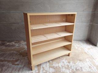 無印良品 MUJI タモ材 組み合わせて使える木製収納 ロータイプ 奥行21cm シェルフ 本棚 A ♪