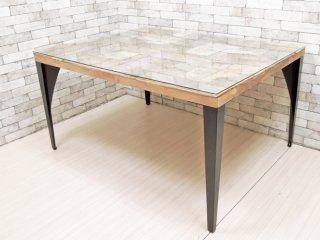インダストリアルスタイル ガラストップ 古材 × アイアン ダイニングテーブル ●