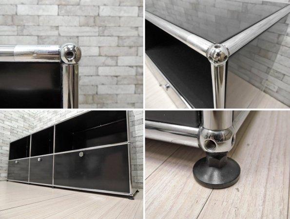 ユーエスエム モジュラーファニチャー USM Modular Furniture サイドボード キャビネット 3列2段  ブラック ドロップダウンドア 参考価格:305,355円 ●