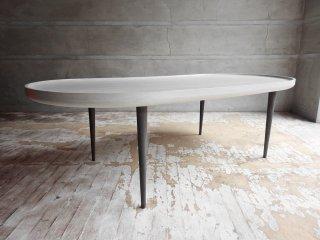 ブランディボアール Blanc d 'Ivoire オーバル トレーテーブル グレー シャビーシック design studio woood取扱 フランス ♪