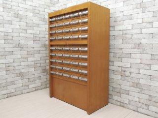 キハラ KIHARA 図書館キャビネット カードケース 抽斗45杯 スライド天板 ネームホルダー付 レトロ 店舗什器 A ●