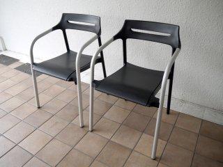 ウィルクハーン Wilkhahn 310/3 Senzo Chair スタッキング アームチェア 2脚セット ブラック 廃番 ◇