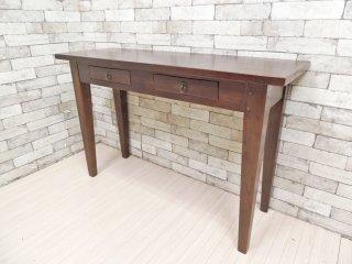 アジアンスタイル Asian Style 無垢材 コンソールテーブル カウンターテーブル 抽斗2杯 W120cm ●