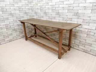 ビンテージ Vintage シャビーシック 木味のダイニングテーブル w182 店舗什器 作業台 ディスプレイ台 ●