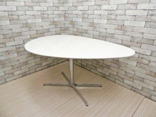 静岡家具 エッグ型 ダイニングテーブル ホワイト w150 一本脚 Xベース モダンデザイン  ●