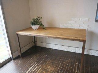 インダストリアルデザイン Industrial design ダイニングテーブル ワークテーブル 幅150 タモ無垢集成材   ステンレス ◎