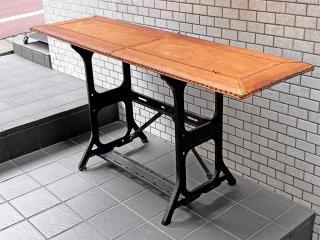 ビンテージ リメイク家具 レザートップ天板 × ミシン脚 コンソールデスク テーブル ■