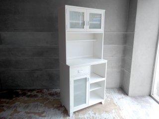 モモナチュラル Momo natural ランド LAND レンジボード カップボード 食器棚 W77cm タイルトップ パイン材 ホワイト 定価: \86,900- ♪