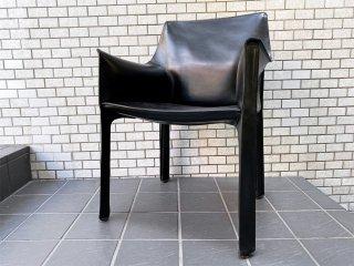 カッシーナ Cassina キャブ アームチェア 413 CAB 本革 ブラック マリオ・ベリーニ イタリア製 モダン MoMA 定価¥356,400- ■