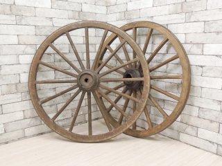 ビンテージ 車輪 大車輪 アイアン ウッドホイール 木製 ガーデニングオブジェ ●